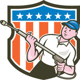 Pressure Washer Water Blaster USA Flag Cartoon Stock Photo