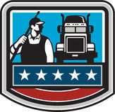 Pressure Washer Worker Truck Crest USA Flag Retro Royalty Free Stock Image