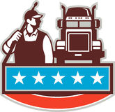 Pressure Washer Worker Truck USA Flag Retro Royalty Free Stock Photos