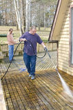Pressure washing deck stock photography