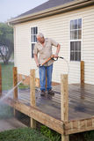 Pressure washing deck Stock Photos