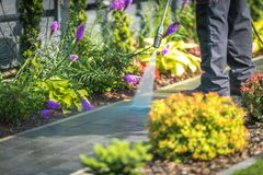 Pressure Washing Garden Path. Closeup Photo. Cleaning Backyard Garden Cobble Pathway stock images