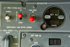 Pressurization panel detail. Detail of cabin pressurization control panel in the cockpit Stock Photos