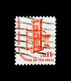 Pressv de impresión americano temprano, serie americana del problema, circa 197 Imágenes de archivo libres de regalías