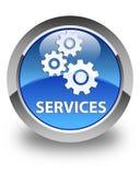 Presta serviços de manutenção (ícone das engrenagens) ao botão redondo azul lustroso Fotos de Stock