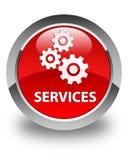 Presta serviços de manutenção (ícone das engrenagens) ao botão redondo vermelho lustroso Fotografia de Stock Royalty Free
