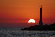 Prestando atenção ao por do sol Fotografia de Stock