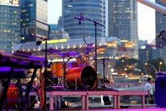 Prestaties bij Promenade Openluchttheater Singapore royalty-vrije stock foto