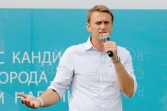 Prestaties van de kandidaat met betrekking tot de burgemeester van Moskou - Alexey Navalny Royalty-vrije Stock Foto