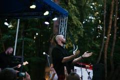 Prestaties van de popgroep ` Chumatsky Shlyakh ` 10 Juni, 2017 in Tcherkassy, de Oekraïne Royalty-vrije Stock Fotografie