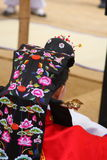 Prestaties van het Traditionele Koreaanse Huwelijk Stock Afbeeldingen
