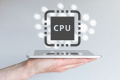 Prestatiesverhoging van cpu-macht voor mobiele gegevensverwerkingsapparaten zoals slimme telefoon Stock Afbeelding