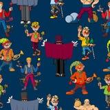 Prestazione allegra di Cheerful del fumetto dell'artista divertente del circo illustrazione di stock