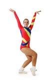Prestazione dal giovane aerobics dell'atleta Immagini Stock Libere da Diritti