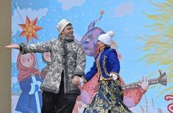 Prestazione dei cosacchi di Kuban su Shrovetide Fotografia Stock