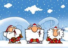 Prestazione del ghiaccio - Santa-musicisti illustrazione di stock