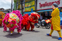 Prestazione della via per il festival di fantasma affamato cinese (tor) di Por a Immagini Stock