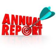 Prestazione finanziaria della freccia del rapporto annuale Fotografie Stock Libere da Diritti