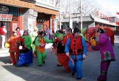 Prestazione giusta del tempio del nuovo anno cinese Fotografia Stock
