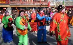 Prestazione giusta del tempio del nuovo anno cinese Fotografia Stock Libera da Diritti