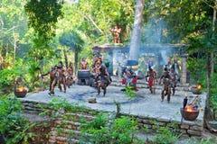 Prestazione Mayan nella giungla del Messico Fotografia Stock Libera da Diritti