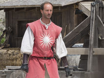 Prestazione teatrale di battaglia medievale in Les Baux-de-Provenza, Francia Immagine Stock Libera da Diritti