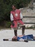 Prestazione teatrale di battaglia medievale in Les Baux-de-Provenza, Francia Fotografia Stock