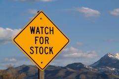 Preste atenção para o sinal conservado em estoque Fotos de Stock Royalty Free