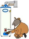 Preste serviços de manutenção à tecnologia que verifica o aquecedor de água Fotografia de Stock Royalty Free