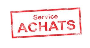 PRESTE SERVIÇOS DE MANUTENÇÃO ao selo retangular vermelho de ACHATS Imagens de Stock Royalty Free