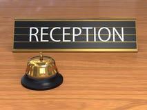 Preste serviços de manutenção ao sino com a placa da recepção Fotografia de Stock
