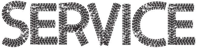 Preste serviços de manutenção ao texto com as letras feitas das trilhas do pneu da motocicleta Fotografia de Stock