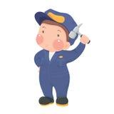 Preste serviços de manutenção ao trabalhador no desgaste azul do trabalho com o martelo Fotos de Stock Royalty Free