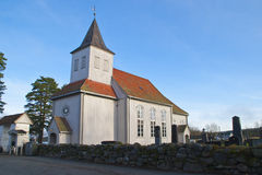 Prestebakke Church. In Enningdalen in Halden municipality is a church from 1793. The structure is timber and has 225 seats, and was financed by the Council man Royalty Free Stock Photo
