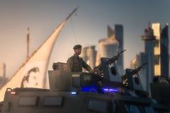 Presteer van militaire en burgerlijke voertuigen op Nationale de Dagparade Doha, Qatar van Qatar stock fotografie