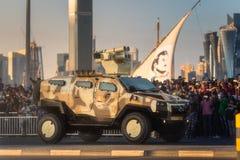 Presteer van militaire en burgerlijke voertuigen op Nationale de Dagparade Doha, Qatar van Qatar royalty-vrije stock foto