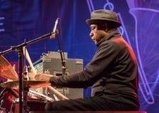 Presteren van Lenny White van de jazzslagwerker levend in Nisville Jazz Festival, 11 Augustus 2016 Stock Afbeeldingen