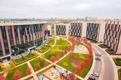 Prestige apartment houses in Skolkovo park. Royalty Free Stock Photo
