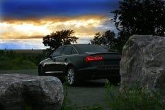 Prestigious dark car on sunset Stock Image