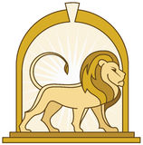 Prestigious Lion Logo. Bold, strong and confident lion standing on a pedestal in the center of a archway royalty free illustration