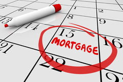 Prestito Bill Due Date Calendar di pagamento della Camera di ipoteca Fotografia Stock Libera da Diritti