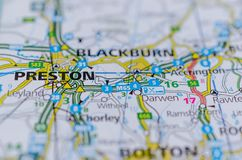 Preston on map. Close up shot of Preston on map, is a city and the administrative centre of Lancashire, England. On the north bank of the River Ribble Stock Photos