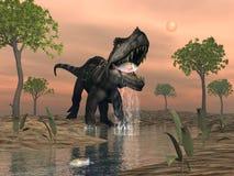 Prestosuchus dinosaur fishing - 3D render. Prestosuchus dinosaur fishing among macrotarniopteris and glossopteris plant by sunset - 3D render Stock Photo