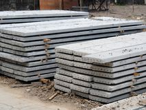 Prestressed Floor planks stacked for construction. It is a slab of reinforced concrete. Put together Structural Topping concrete royalty free stock image