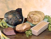 Presunto fumado e cozido e outras carnes enchidas Fotografia de Stock Royalty Free
