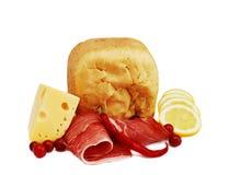 Presunto, pão e queijo Fotografia de Stock