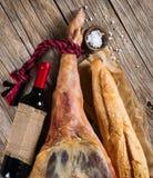 Presunto, vinho e pão Foto de Stock Royalty Free