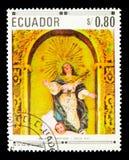 Presupposto della Vergine Santa, delle pitture cristiane e delle sculture vicino Immagini Stock Libere da Diritti