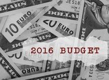 presupuesto 2016 Imagen de archivo libre de regalías