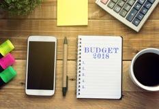 Presupuesto 2018 del concepto del Año Nuevo Fotos de archivo